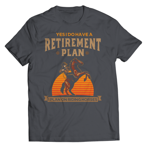 retirement-plan-unisex-horse-t-shirts-charcoal