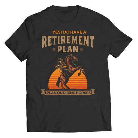 retirement-plan-unisex-horse-t-shirts-black