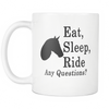 "Image of ""Eat, Sleep, Ride Any Questions?"" Horse Themed Coffee Mug"