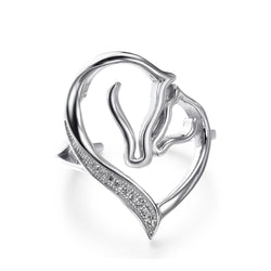 Pure Sterling Silver Mother's Heart Horse Ring