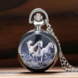 Three Chargers Stainless Steel Horse Watch Necklace - Front View