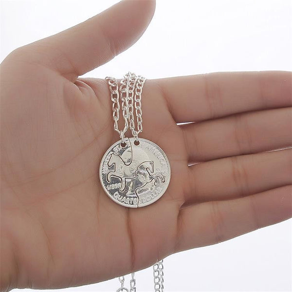 Quarter Dollar Best Friends Horse Pendant Necklace
