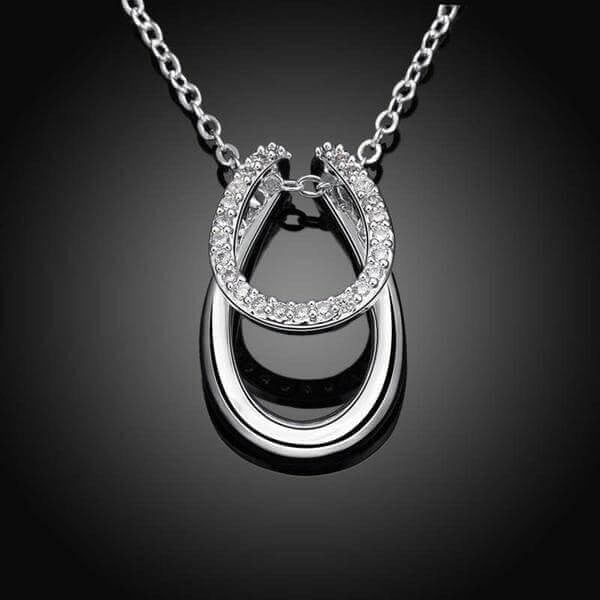 925 Sterling Silver & Crystal Double Horseshoe Necklace