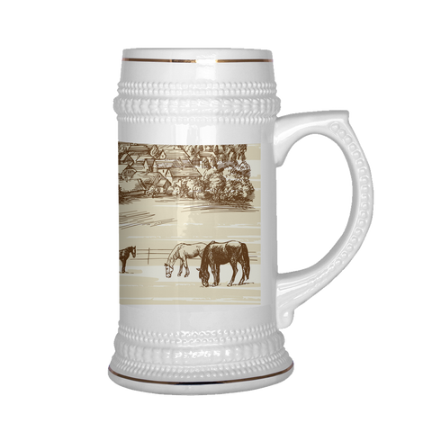 Vintage Village Horses at Pasture Beer Stein