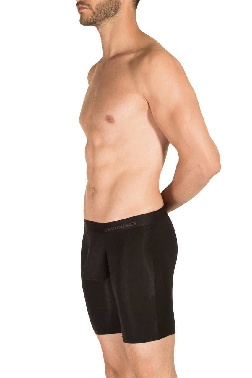 Obviously PrimeMan Boxer Brief 9 inch Leg Black