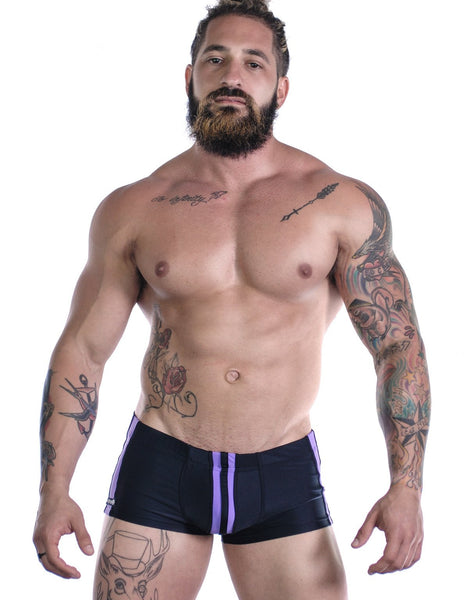 Sportivo Square Cut Black & Purple - Big Penis Underwear, WildmanT - WildmanT