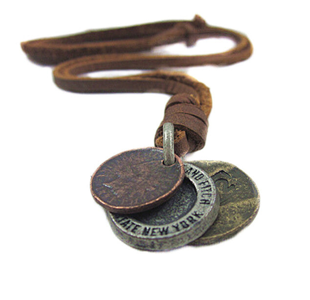 Men's Necklace Vintage Leather Design Three Coins Shape Pendant Charms Sweater Chains