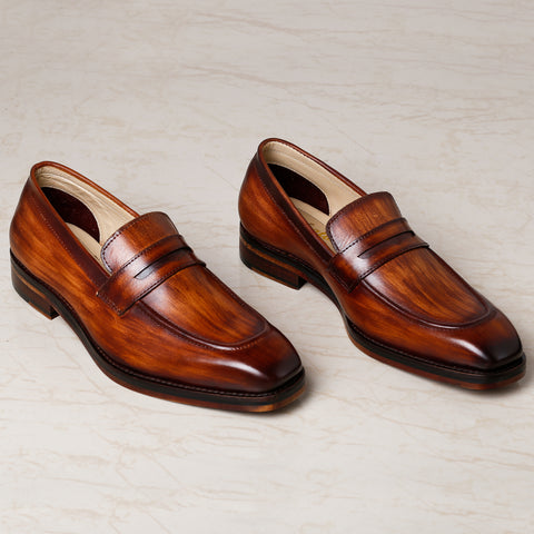 Dual Tone Penny Loafers -Tan