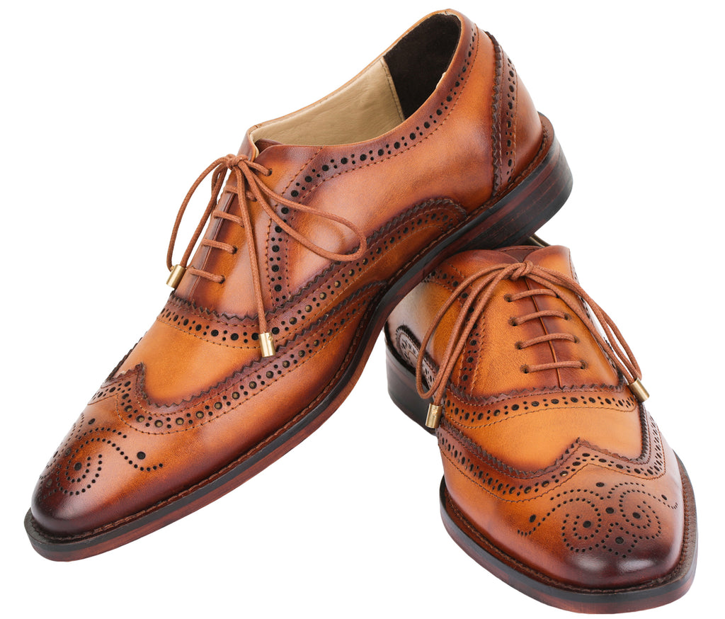 Wingtip Brogue Oxford Hand-Painted Leather Lace Up Shoes - Tan