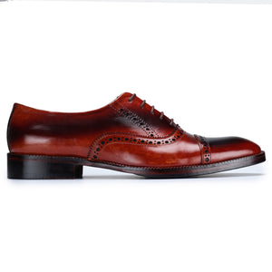 Classic Captoe Oxford - Red & Black