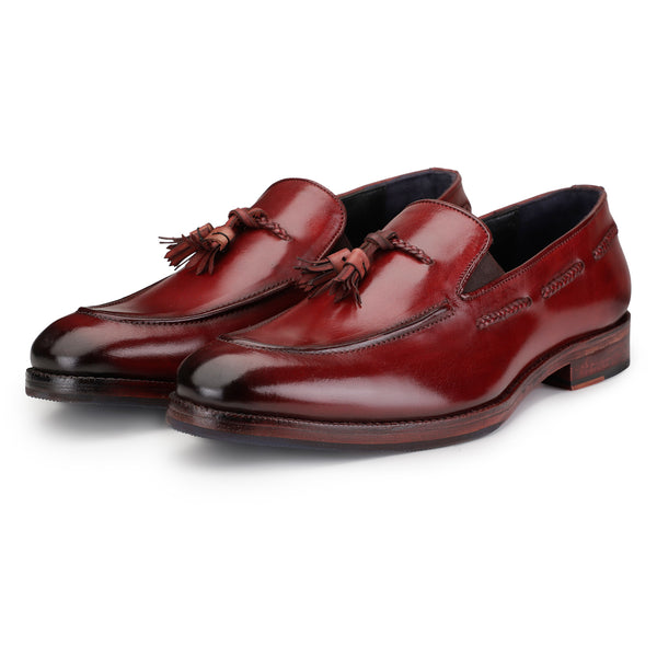 Tassel Loafers - Wine Red