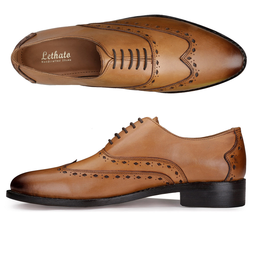 Brogue Oxford Wingtip Goodyear Welted Handmade Leather Shoes- Tan