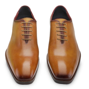 Wholecut Oxford Dress Shoes for Men- Golden