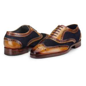 Wingtip Brogue Oxford- Navy Blue