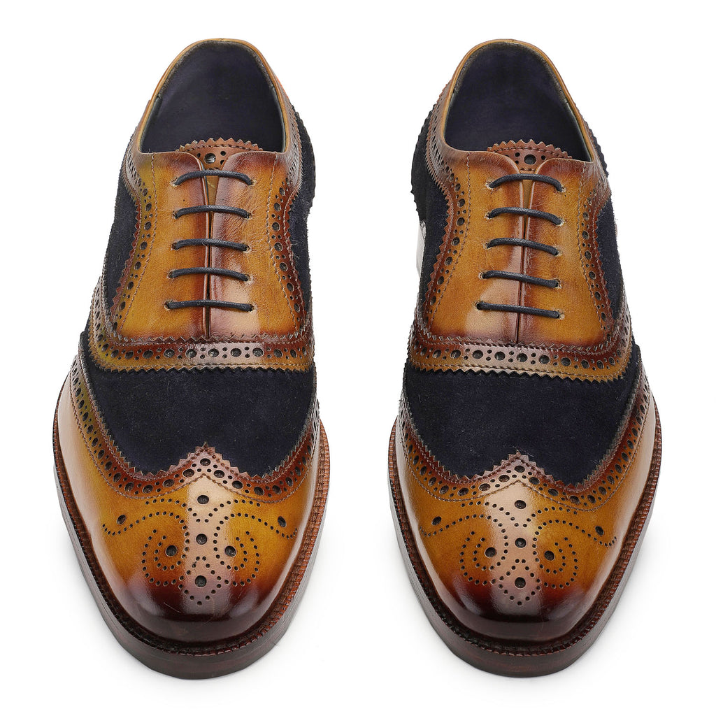 Wingtip Brogue Oxford Handcrafted Leather Lace Up Shoes- Navy Blue