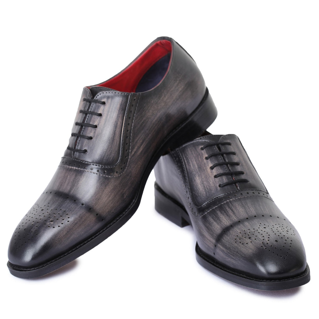 Men's Oxford Handcrafted Men's Genuine Leather Lace Up Dress Shoes- Gray