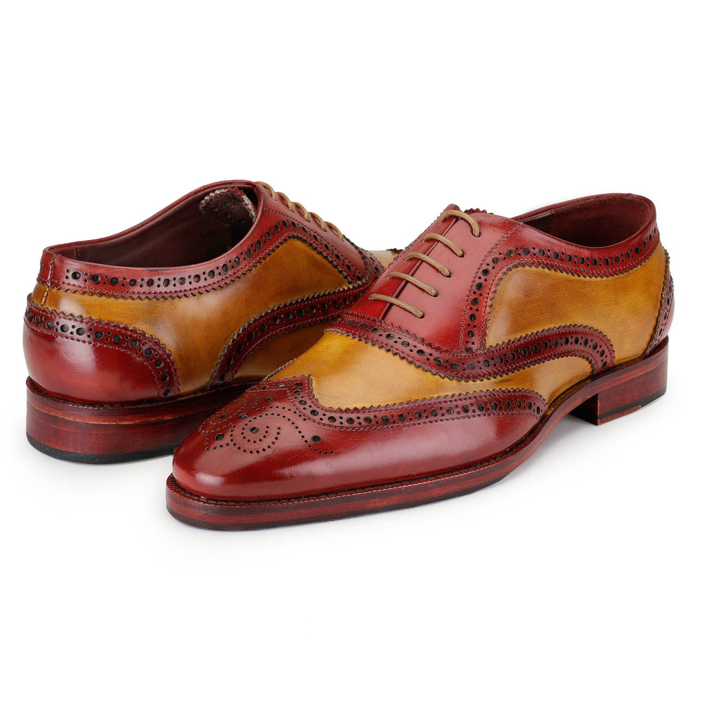Wingtip Brogue Oxford Hand-Painted Leather Lace Up Shoes - Red & Tan