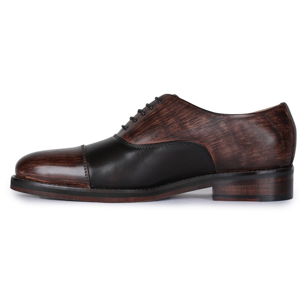 Captoe Oxford Mens Classic Dress Shoes- Brown