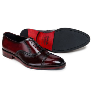 Captoe Oxford Classic Dress Shoes - Wine Red