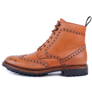 Goodyear Welted Wingtip Brogue lace Up Boots- Tan