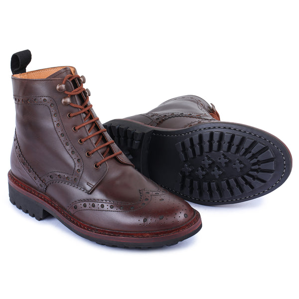 Goodyear Welted Wingtip Brogue lace Up Boots- Brown