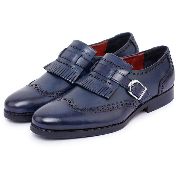 Wingtip Brogue Kiltie Monk Strap Loafers- Navy