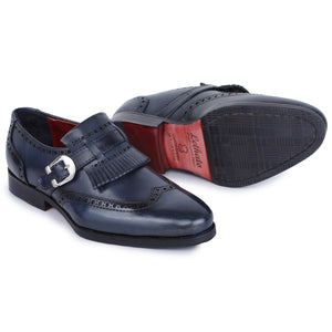Wingtip Brogue Kiltie Monk Strap Shoes- Navy
