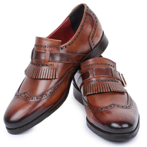 Wingtip Brogue Kiltie Monk Strap Loafers- Brown