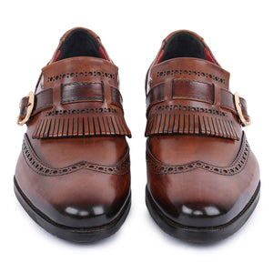 Wingtip Brogue Kiltie Monk Strap Shoes- Brown