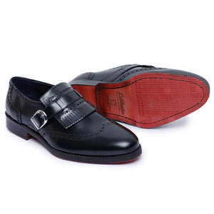 Wingtip Brogue Kiltie Monk Strap Shoes- Black