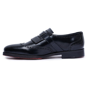 Wingtip Brogue Kiltie Monk Strap Loafers- Black