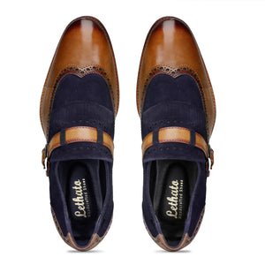 Wingtip Brogue Kiltie Monk Strap - Navy Suede