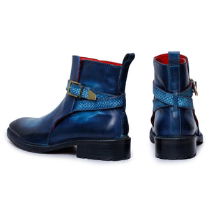 Mens Cross Strap Boots- Navy