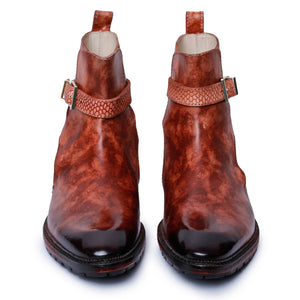 Mens Cross Strap Boots- Reddish Brown