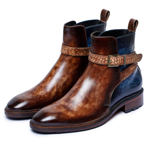 Mens Cross Strap Boots- Brown & Blue