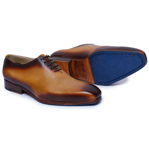 Wholecut Oxford Dress Shoes for Men- Tan