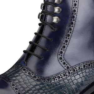 Cap Toe Lace up Boots - Crocodile Navy
