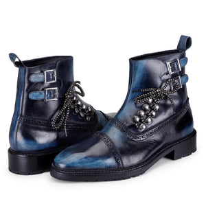 Cap Toe Lace up Boots - Navy
