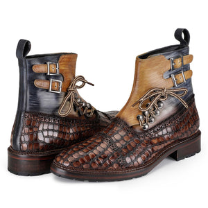 Cap Toe  Lace up Boots - Crocodile Brown
