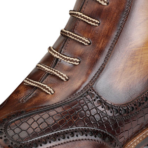 Plain Toe Lace up Boots with Zipper - Brown