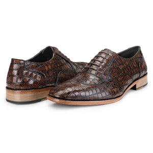 Wingtip Oxford - Crocodile Brown