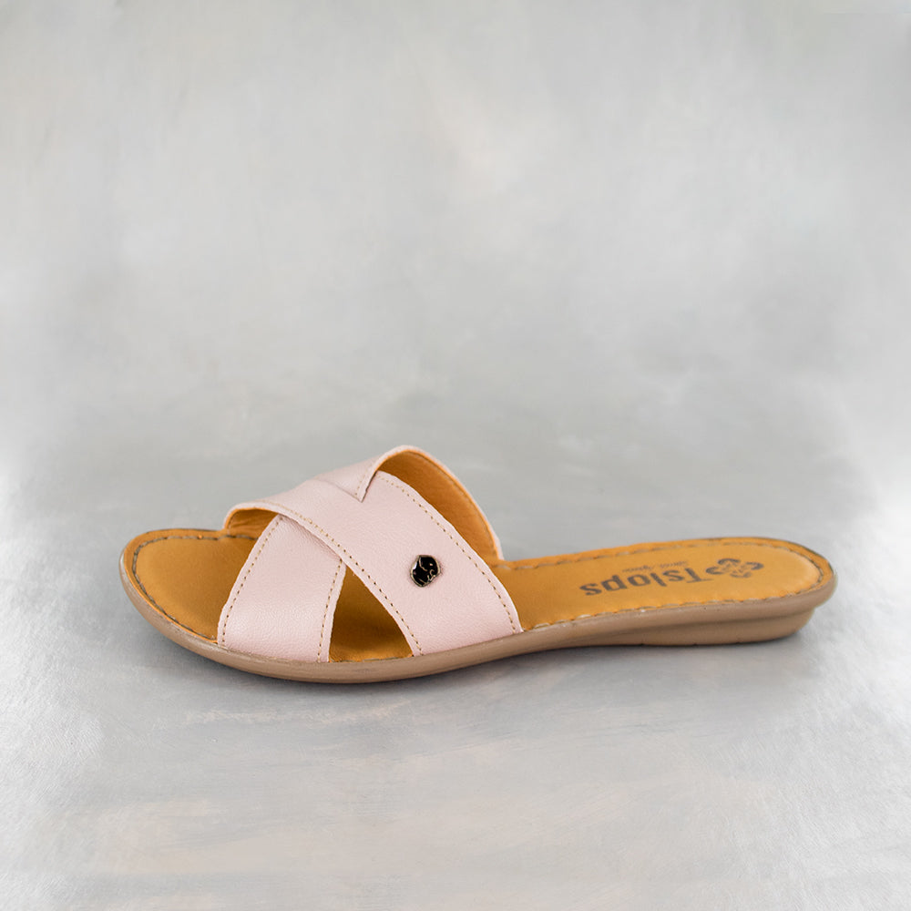 Baqaza : Ladies Leather Tslops Sandal in Rose Cayak