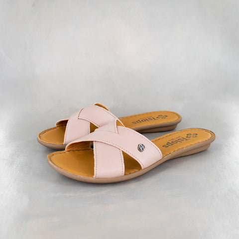Gadla : Ladies Leather Sandal in Rose Cayak