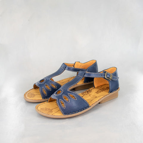 Baqaza : Ladies Leather Tslops Sandal in Hazel Relaxa