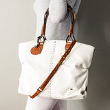 Refiloe : Ladies Leather Shopper & Crossbody Handbag in White Delta