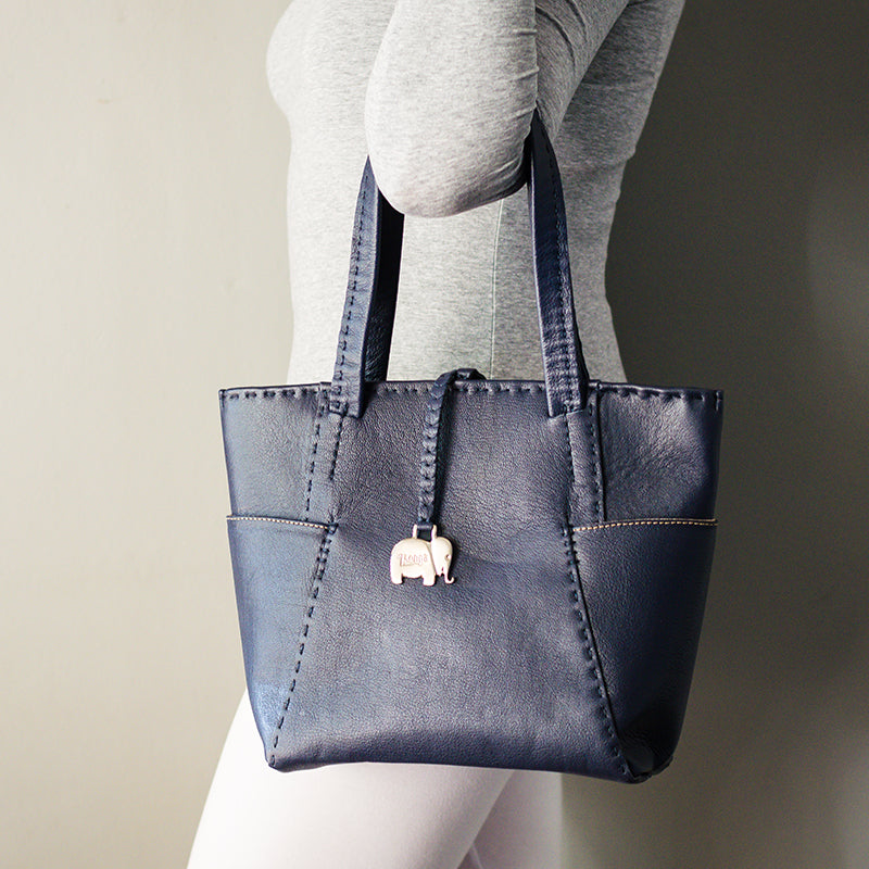 Anesu : Ladies Leather Shopper Handbag in Denim Cayak