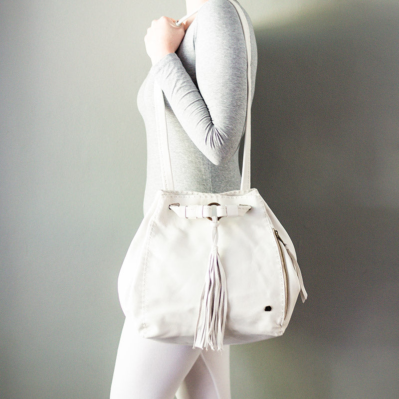 Nomfuso : Ladies Leather Handbag in White Delta