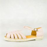 Kubelula : Ladies Leather Espadrille Shoe in Rose Cayak