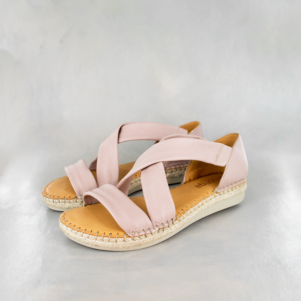 Ganandela : Ladies Leather Espadrille Sandal in Rose Cayak