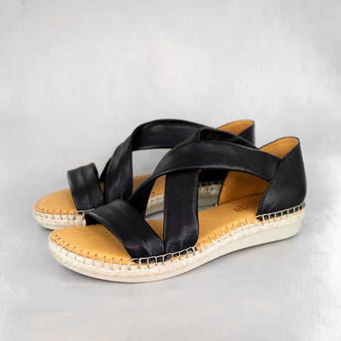 Chachisa : Ladies Leather Espadrille Shoe in Black Vintage